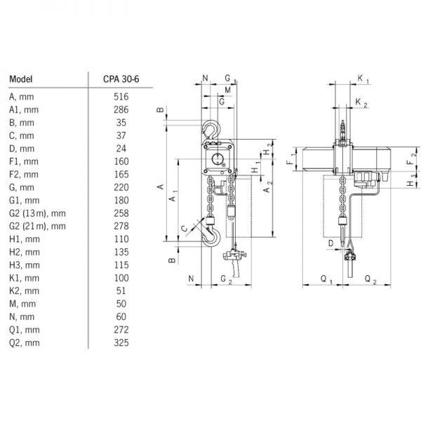 Yale CPA - ATEX Basic 2000 - 10000 kg - pneumatyczny wciągnik łańcuchowy