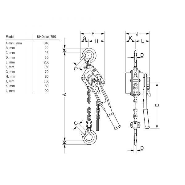 Yale UNOplus A - wciągnik łańcuchowy ręczny