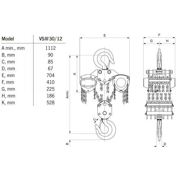 Yale VSIII 10 - 30 t - wciągnik łańcuchowy ręczny