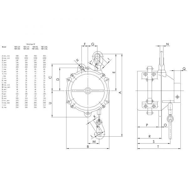 Yale YBF - balanser sprężynowy / linkowy