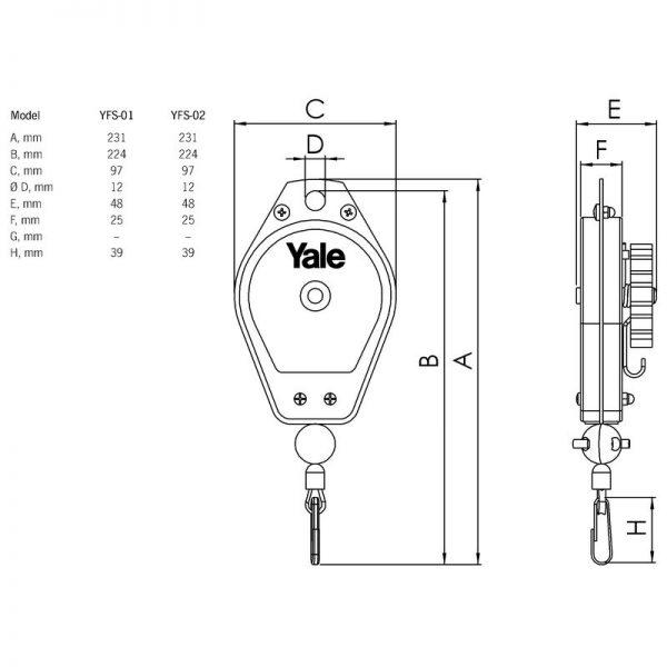 Yale YFS - balanser sprężynowy / linkowy