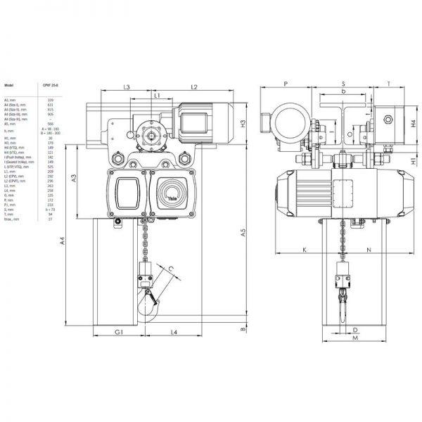 Yale CPV VTE - 18 m/min - wciągnik łańcuchowy elektryczny przejezdny