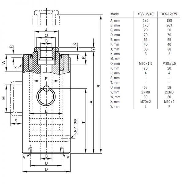 Siłownik hydrauliczny jednostronnego działania przelotowy - Yale YCS