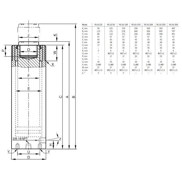 Yale YS 10 ton - siłownik hydrauliczny tłok ø 38mm