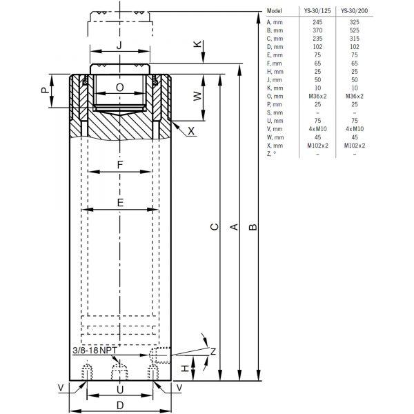 Yale YS 30 ton - siłownik hydrauliczny