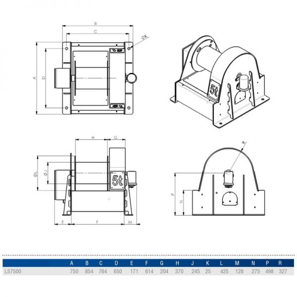 Gebuwin LS7500 - wciągarka linowa elektryczna